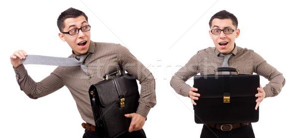 Joven maletín aislado blanco trabajo Foto stock © Elnur