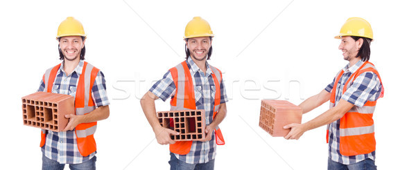 The builder with clay bricks isolated on white Stock photo © Elnur