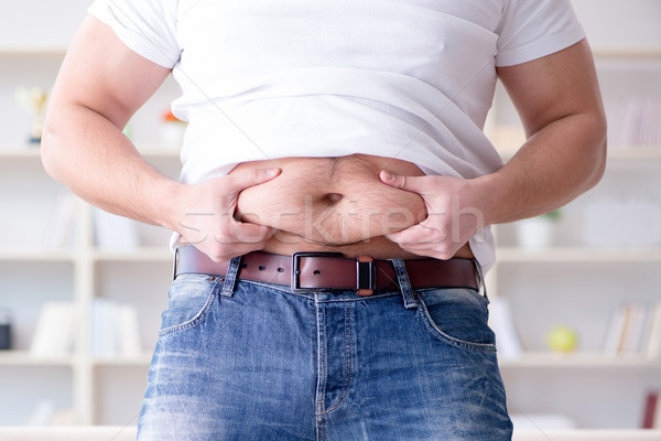 Tłuszczu otyły człowiek diety żywności ciało Zdjęcia stock © Elnur