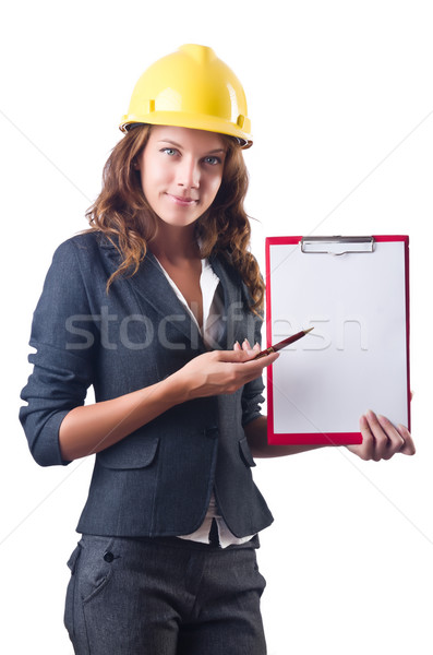 Woman with hard hat and binder Stock photo © Elnur