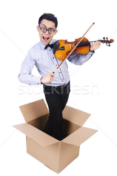 男 演奏 バイオリン ボックス サウンド 白 ストックフォト © Elnur