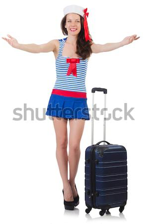 Stock photo: Woman travel attendant with suitcase on white