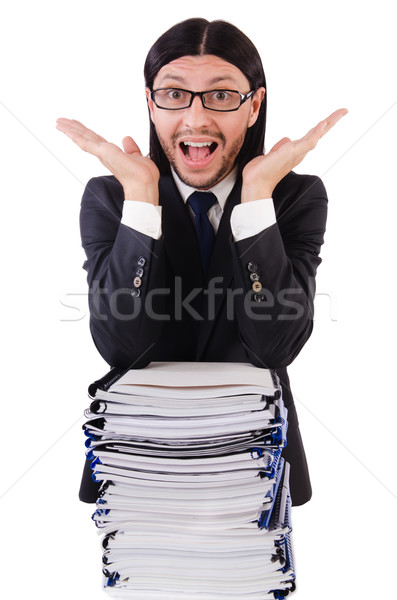 Funny man with lots of papers on white Stock photo © Elnur