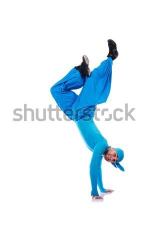 Dansçı geniş pantolon beyaz adam moda Stok fotoğraf © Elnur