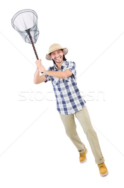 Vicces fickó net fehér mosoly pillangó Stock fotó © Elnur