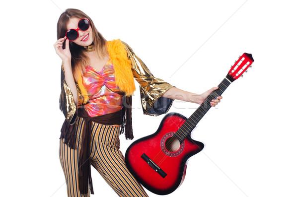 Magas gitáros izolált fehér zene buli Stock fotó © Elnur