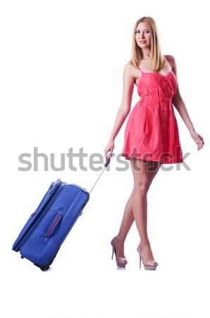 Fiatal nő piros mikulás jelmez fehér lány Stock fotó © Elnur 4e290850a1