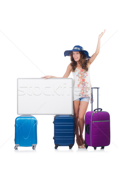 Nő Panama vakáció bőrönd tábla izolált Stock fotó © Elnur