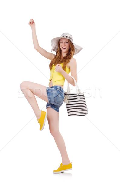 Fiatal lány Panama divat fogalmak fehér lány Stock fotó © Elnur