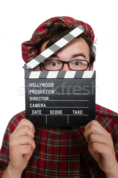 Funny scotsman with movie board on white Stock photo © Elnur