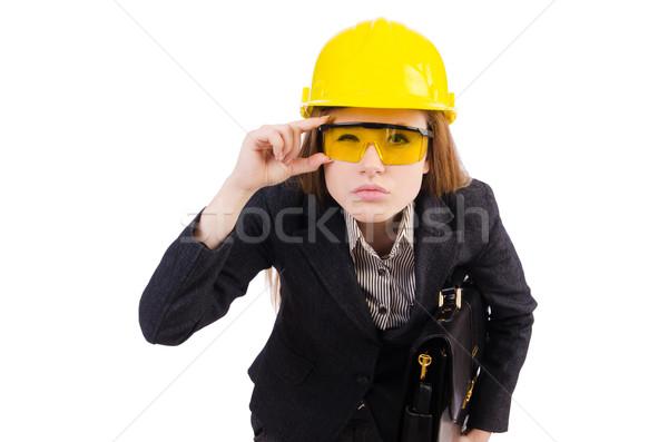 Kobieta pracownik budowlany odizolowany biały szczęśliwy budowy Zdjęcia stock © Elnur