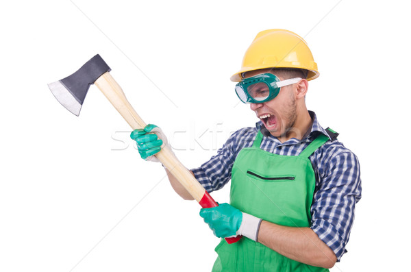 Funny man with axe isolated on white Stock photo © Elnur