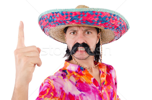 Funny mexican with sombrero hat Stock photo © Elnur