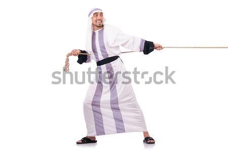 Gladiador isolado branco estúdio roupa étnico Foto stock © Elnur