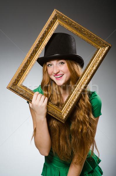 женщину зеленый платье фоторамка Сток-фото © Elnur