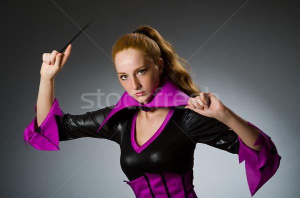 女性 マジシャン グレー 手 笑顔 スーツ ストックフォト © Elnur