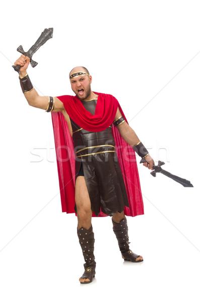 Gladiátor kard izolált fehér piros izom Stock fotó © Elnur
