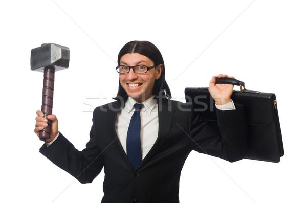 Jóképű üzletember tart kalapács tok izolált Stock fotó © Elnur