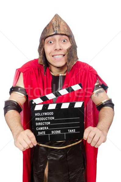Gladyatör yalıtılmış beyaz mutlu film kırmızı Stok fotoğraf © Elnur