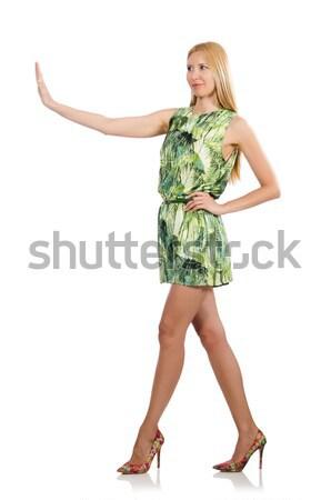 Stock fotó: Fiatal · nő · zöld · mini · ruha · izolált · fehér