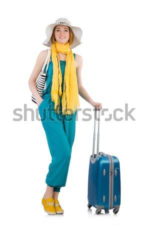 ストックフォト: かなり · 少女 · スーツケース · 孤立した · 白 · 髪