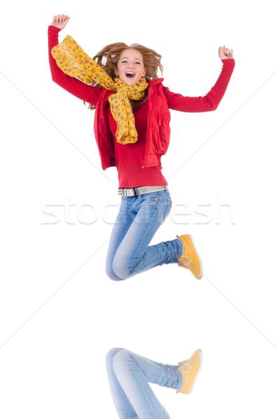 Cute uśmiechnięty dziewczyna czerwony kurtka dżinsy Zdjęcia stock © Elnur