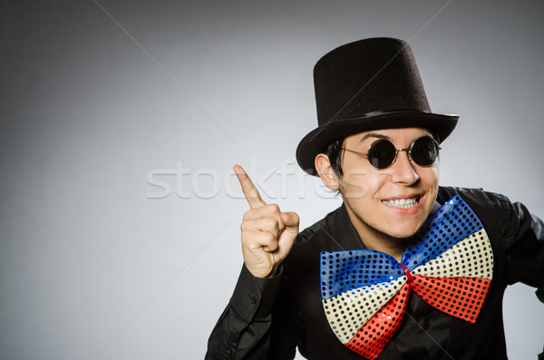 Funny man with sunglasses and vintage hat Stock photo © Elnur