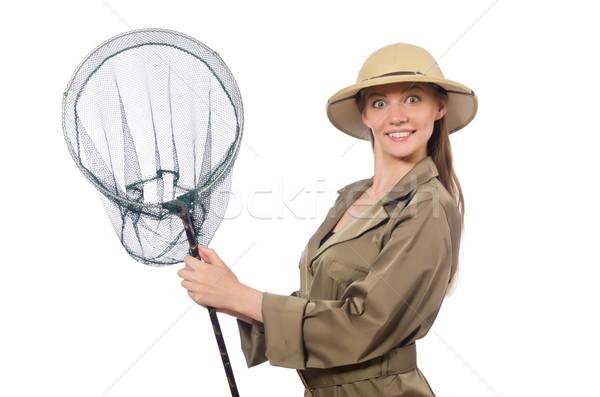 Femme Safari chapeau blanche fond Photo stock © Elnur
