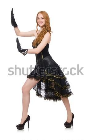 Blond haren meisje zwarte avondkleding geïsoleerd Stockfoto © Elnur