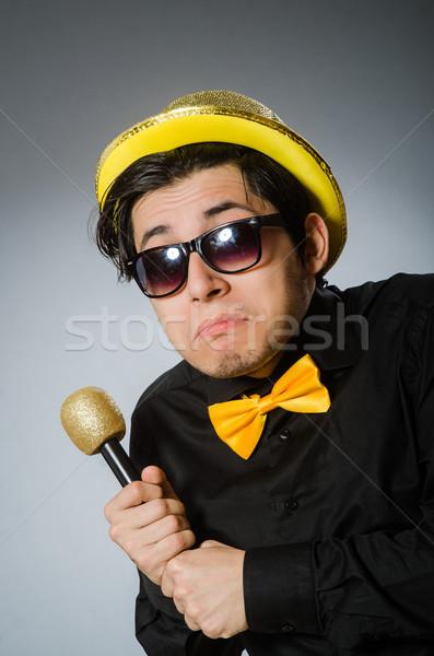 Komik adam karaoke parti saç arka plan Stok fotoğraf © Elnur