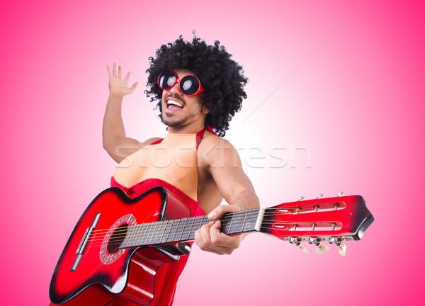 Homem mulher roupa guitarra música fundo Foto stock © Elnur