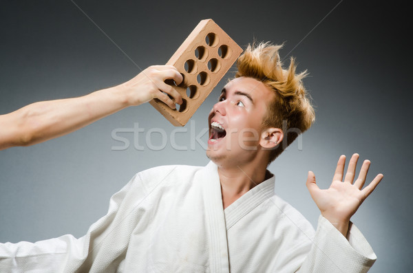 Funny karate fighter with clay brick Stock photo © Elnur