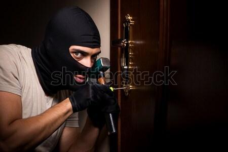 Man crimineel witte hand masker mannelijke Stockfoto © Elnur