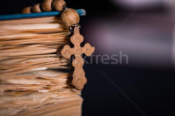 Bible cross religiosa legno luce Gesù Foto d'archivio © Elnur