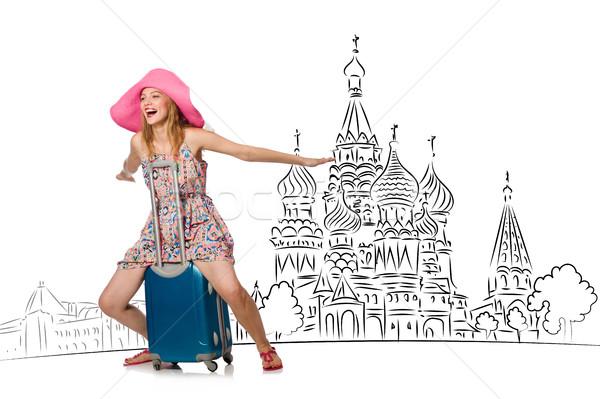 Jong meisje toerisme Rusland meisje gelukkig mode Stockfoto © Elnur