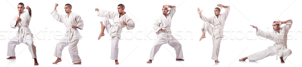 коллаж каратэ игрок кимоно изолированный белый Сток-фото © Elnur