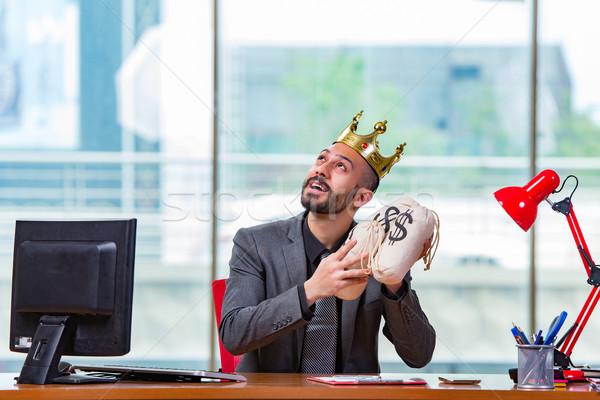 Empresário coroa dinheiro escritório negócio trabalhar Foto stock © Elnur