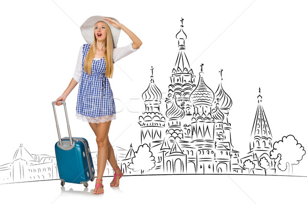 Stock photo: Young girl in concept of tourism to Russia