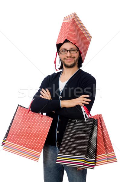 ストックフォト: 若い男 · プラスチック · 袋 · 孤立した · 白
