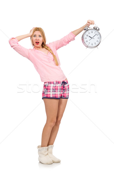 Pretty blondie girl holding alarm-clock isolated on white Stock photo © Elnur