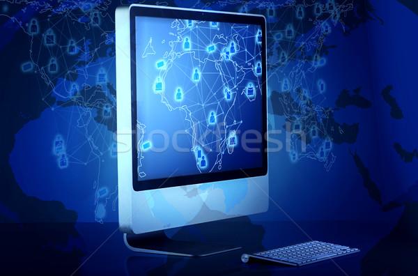 Computerscherm social media computer kaart technologie telefoon Stockfoto © Elnur