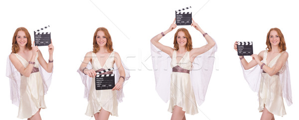 Woman with movie clapper isolated on white Stock photo © Elnur