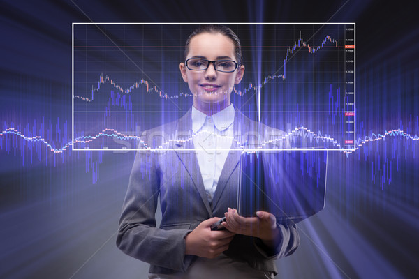The businesswoman with many financial charts Stock photo © Elnur