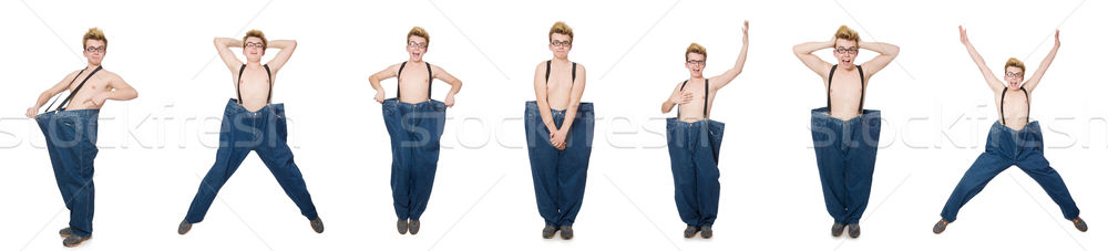 Funny man with trousers isolated on white Stock photo © Elnur