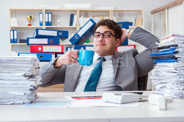 üzletember elfoglalt papírmunka férfi boldog otthon Stock fotó © Elnur