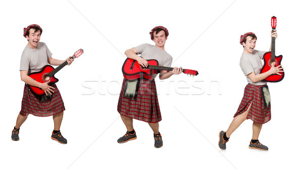 Scotsman playing guitar isolated on white Stock photo © Elnur