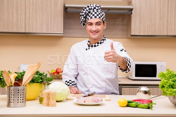Foto d'archivio: Giovani · chef · lavoro · cucina · felice · home