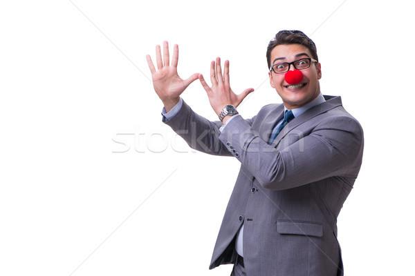 смешные клоуна бизнесмен изолированный белый вечеринка Сток-фото © Elnur