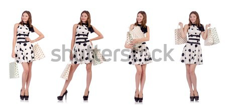 The beautiful girl in striped clothing isolated on white Stock photo © Elnur