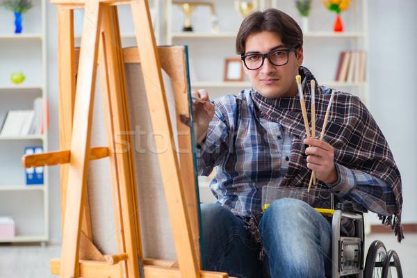 Inválido artista pintura quadro estúdio estudante Foto stock © Elnur